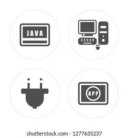 4 Java, Plugin, Computer, App modern icons on round shapes, vector illustration, eps10, trendy icon set.
