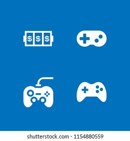 4 joystick icons in vector set. slots coincidence, gamepad controller, gamepad console and gamepad illustration for web and graphic design