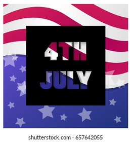 4 July America celebration. Independence national holiday.  Vector illustration for t-shirt, poster, wallpaper and print. USA flag