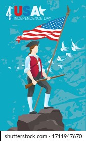 4 july American Independence day. Revolutionary war civil soldier with rifle and national flag. Vector illustration