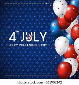 4 july happy independence day design of balloon on blue jeans background