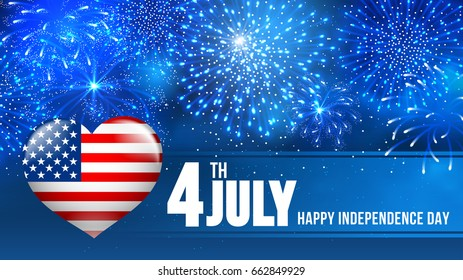 4 July Independence day of United States of America  - festive vector cards with fireworks.