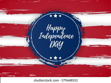 4 of July USA Independence Day greeting card. National flag card design