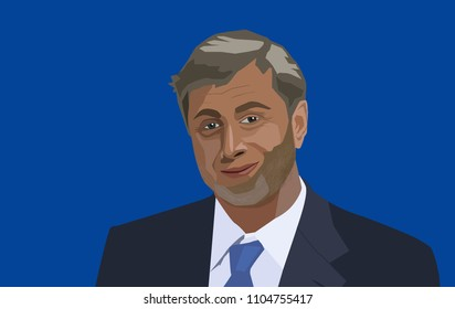 4 June, 2028: Roman Abramovich vector portrait. Russian-Israeli billionaire businessman, investor, and politician, owner of Chelsea Football Club