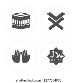 4 Kaaba Mecca, Dua Hands, Reading Quran, Halal modern icons on round shapes, vector illustration, eps10, trendy icon set.