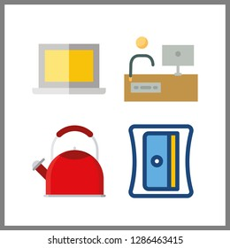 4 kitchenware icon. Vector illustration kitchenware set. sharpener and kettle icons for kitchenware works