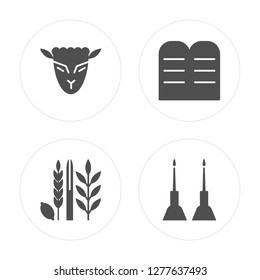 4 Lamb of God, Four Species, Halakha, Jewish Candles modern icons on round shapes, vector illustration, eps10, trendy icon set.
