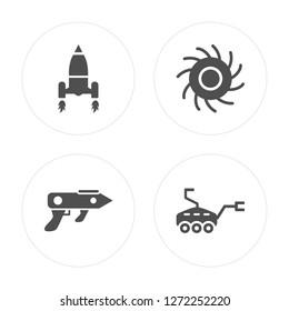 4 Launching Shuttle, Gun Blaster, Black Hole, Mars Rover modern icons on round shapes, vector illustration, eps10, trendy icon set.