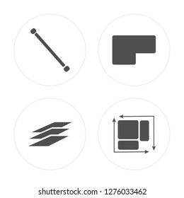 4 Lengthen, Layer, Base, Dimension modern icons on round shapes, vector illustration, eps10, trendy icon set.