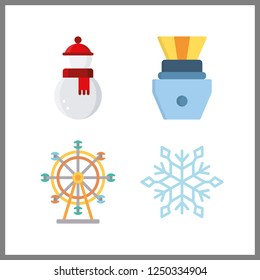 4 light icon. Vector illustration light set. snowman and ferris whell icons for light works