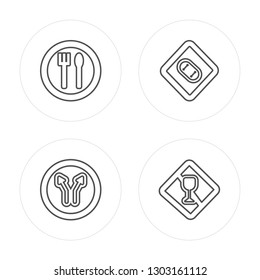 4 line Attention, Landslide, Stop, Lightning Warning modern icons on round shapes, Attention, Landslide, Stop, Lightning Warning vector illustration, trendy linear icon set.
