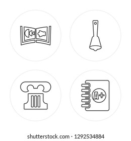 4 line Audiobook, Greek pillar, Hand bell, Clipboard with A+ modern icons on round shapes, Audiobook, Greek pillar, Hand bell, Clipboard with A+ vector illustration, trendy linear icon set.