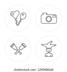 4 line Balloons, Vuvuzela, Photo camera, Joker modern icons on round shapes, Balloons, Vuvuzela, Photo camera, Joker vector illustration, trendy linear icon set.