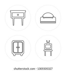 4 line Bedside table, Closet, Sofa, Tv table modern icons on round shapes, Bedside table, Closet, Sofa, Tv table vector illustration, trendy linear icon set.