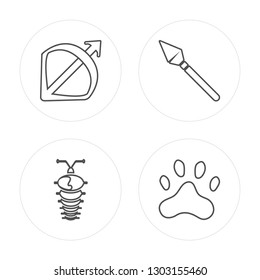 4 line Bow and arrow, Arthropod, Spear, Paw print modern icons on round shapes, Bow and arrow, Arthropod, Spear, Paw print vector illustration, trendy linear icon set.