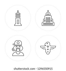 4 line Building, Rapper, USA building, Eagle modern icons on round shapes, Building, Rapper, USA building, Eagle vector illustration, trendy linear icon set.