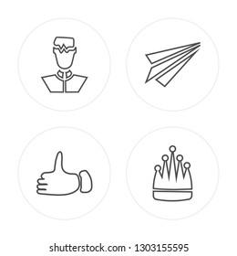 4 line Businessman, Thumb up, Send, King modern icons on round shapes, Businessman, Thumb up, Send, King vector illustration, trendy linear icon set.