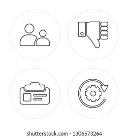 4 line Child consent, Id card, Right to objection modern icons on round shapes, Child consent, Id card, Right to objection, Data processing vector illustration, trendy linear icon set.