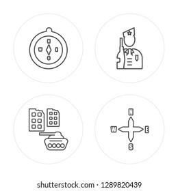 4 line Compass, Militar tank in city street modern icons on round shapes, Compass, Militar tank in city street, vector illustration, trendy linear icon set.