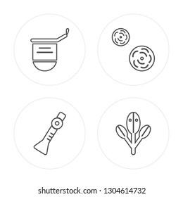 4 line Dipa, Shehnai, Flowers, Bael tree modern icons on round shapes, Dipa, Shehnai, Flowers, Bael tree vector illustration, trendy linear icon set.