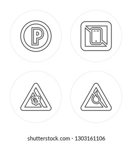 4 line Do Not Touch, Wireless, UV Ray Warning, Music modern icons on round shapes, Do Not Touch, Wireless, UV Ray Warning, Music vector illustration, trendy linear icon set.