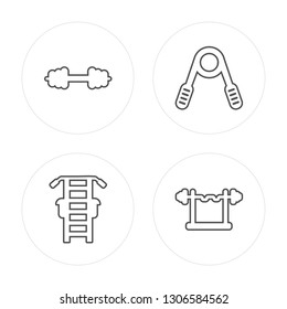 4 line Dumbbell, Gym station, Hand grip, Barbell modern icons on round shapes, Dumbbell, Gym station, Hand grip, Barbell vector illustration, trendy linear icon set.