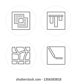 4 line Exclude, Distort, Vertical alignment, Edit modern icons on round shapes, Exclude, Distort, Vertical alignment, Edit vector illustration, trendy linear icon set.