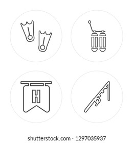 4 line Flippers, Hotel, Oxygen, Fishing rod modern icons on round shapes, Flippers, Hotel, Oxygen, Fishing rod vector illustration, trendy linear icon set.