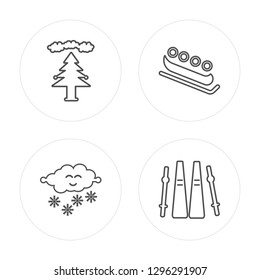 4 line Forest, Snowing, Bobsled, Ski modern icons on round shapes, Forest, Snowing, Bobsled, Ski vector illustration, trendy linear icon set.