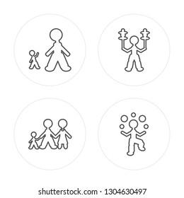 4 line Giant man, Juggler man modern icons on round shapes,Juggler man vector illustration, trendy linear icon set.