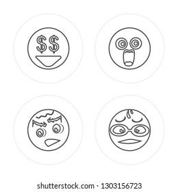 4 line Greed, Sad, Shocked, Nerd modern icons on round shapes, Greed, Sad, Shocked, Nerd vector illustration, trendy linear icon set.