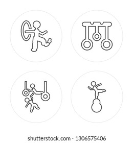 4 line Juggler man, Trapeze artists man, Aerial Ring, Acrobat modern icons on round shapes, Juggler man, Trapeze artists man, Aerial Ring,vector illustration, trendy linear icon set.