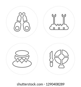 4 line Jugglin, Circus Podium, Trapeze Bar, Knife Throwing modern icons on round shapes, Jugglin, Circus Podium, Trapeze Bar, Knife Throwing vector illustration, trendy linear icon set.