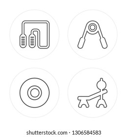 4 line Jumping rope, Weight, Hand grip, Weight modern icons on round shapes, Jumping rope, Weight, Hand grip, Weight vector illustration, trendy linear icon set.