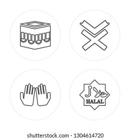 4 line Kaaba Mecca, Dua Hands, Reading Quran, Halal modern icons on round shapes, Kaaba Mecca, Dua Hands, Reading Quran, Halal vector illustration, trendy linear icon set.