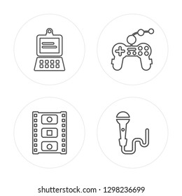 4 line Laptop, Photogram, Joypad, Microphone modern icons on round shapes, Laptop, Photogram, Joypad, Microphone vector illustration, trendy linear icon set.
