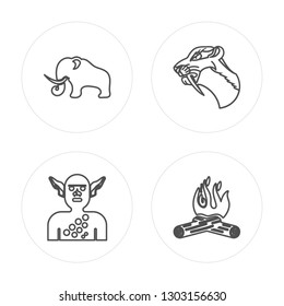 4 line Mammoth, Troglodyte, Saber toothed tiger, Bonfire modern icons on round shapes, Mammoth, Troglodyte, Saber toothed tiger, Bonfire vector illustration, trendy linear icon set.