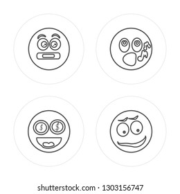 4 line Muted, Greed, Whistle, Happy modern icons on round shapes, Muted, Greed, Whistle, Happy vector illustration, trendy linear icon set.