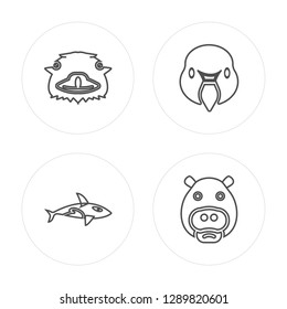 4 line Ostrich, Grampus, Swan, Hippopotamus modern icons on round shapes, Ostrich, Grampus, Swan, Hippopotamus vector illustration, trendy linear icon set.