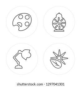 4 line Paint palette, Desk lamp, Alarm clock, Photosynthesis modern icons on round shapes, Paint palette, Desk lamp, Alarm clock, Photosynthesis vector illustration, trendy linear icon set.