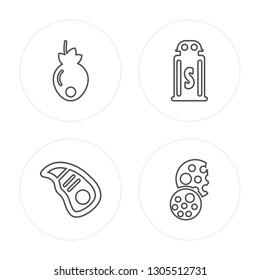 4 line Persimmon, Steak, Salt, Biscuit modern icons on round shapes, Persimmon, Steak, Salt, Biscuit vector illustration, trendy linear icon set.