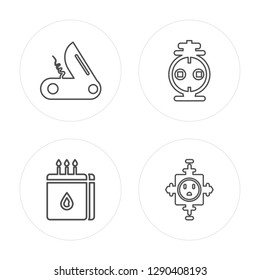 4 line Pocket knife, Matches, Outlet, Outlet modern icons on round shapes, Pocket knife, Matches, Outlet, Outlet vector illustration, trendy linear icon set.
