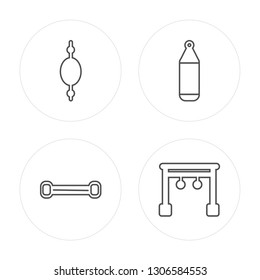4 line Punching ball, Chest expander, Punching bag, Rings modern icons on round shapes, Punching ball, Chest expander, Punching bag, Rings vector illustration, trendy linear icon set.