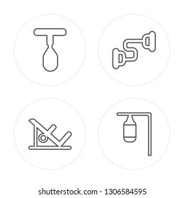 4 line Punching ball, Machine, Chest expander, Punching bag modern icons on round shapes, Punching ball, Machine, Chest expander, Punching bag vector illustration, trendy linear icon set.