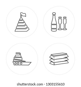 4 line Pyramid, Yatch, Champagne, Gold modern icons on round shapes, Pyramid, Yatch, Champagne, Gold vector illustration, trendy linear icon set.