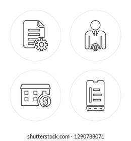 4 line Report, Market, Investor, Bar chart modern icons on round shapes, Report, Market, Investor, Bar chart vector illustration, trendy linear icon set.