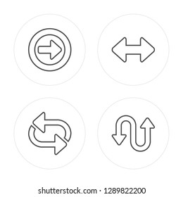 4 line Right Circling Arrow, Shuffle Arrows modern icons on round shapes, Right Circling Arrow, Shuffle Arrows, vector illustration, trendy linear icon set.