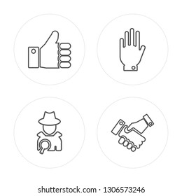4 line Right to objection, Detective, Right to objection modern icons on round shapes, Right to objection, Detective, Right to objection, Cooperation vector illustration, trendy linear icon set.