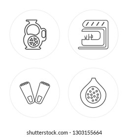 4 line Sangria, Flippers, Bar, Fig modern icons on round shapes, Sangria, Flippers, Bar, Fig vector illustration, trendy linear icon set.