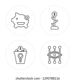 4 line Savings, Crowdfunding, Growth, Bionic contact lens modern icons on round shapes, Savings, Crowdfunding, Growth, Bionic contact lens vector illustration, trendy linear icon set.